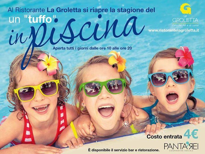 """Al Ristorante La Groletta si riapre la stagione del un """"tuffo"""" in piscina. Apert..."""