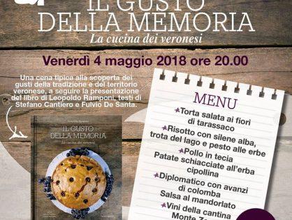 """Venerdì 4 Maggio ore 20.00 presso la Groletta """"IL GUSTO DELLA MEMORIA"""". Per ordi..."""