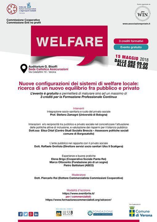 """Vi aspettiamo martedì 15 maggio! """"Nuove configurazioni dei sistemi di welfare lo..."""